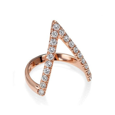 18K Rose Gold Diamond V Ring - Fine Jewelry