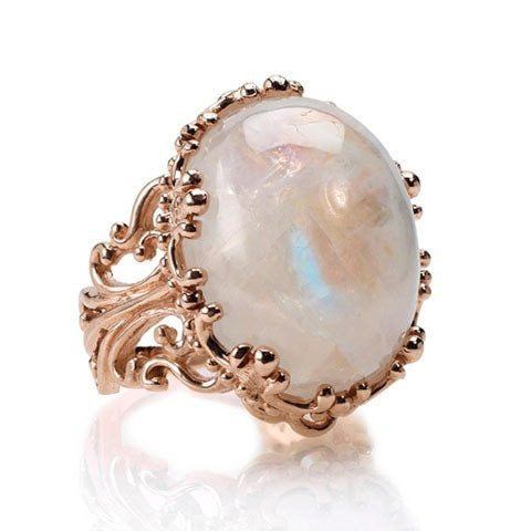 Rose Gold Rainbow Moonstone Ring - Fine Jewelry