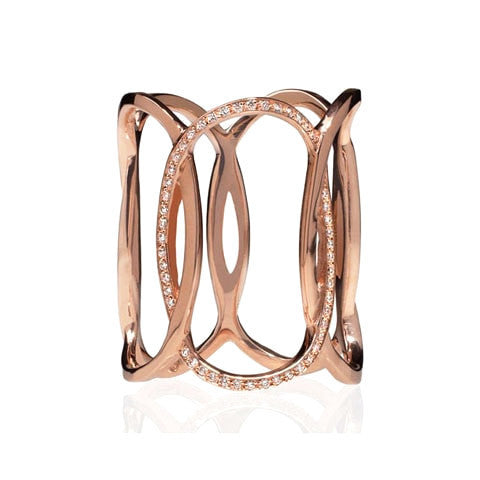 Rose Gold and Diamonds Full Finger Ring - Fine Jewelry