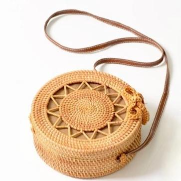 Handwoven Calypso Straw Bag Brown - Shoulder Bags