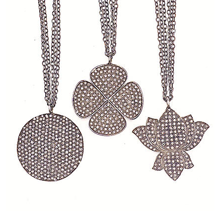 Diamond Lotus, Disc & Clover Charm Chain Necklace - Fine Jewelry