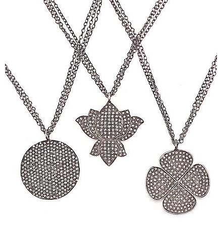 Diamond Lotus, Disc & Clover Charm Chain Necklace - Jewelry