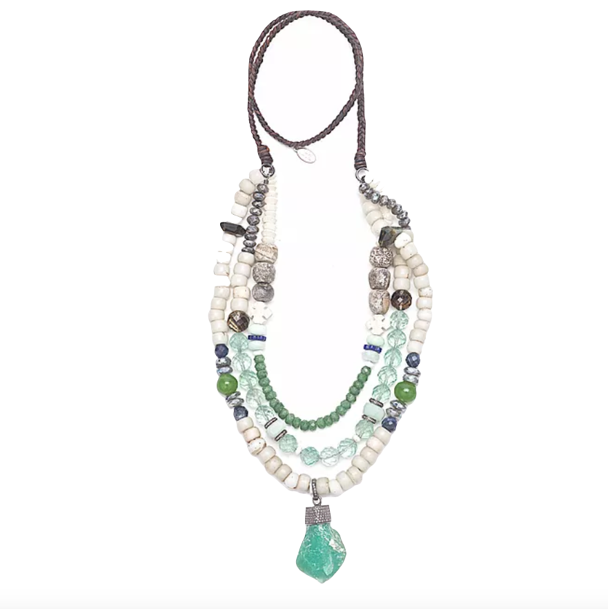 Diamond Chrysoprase Nugget Mixed Gemstone Necklace - Fine Jewelry