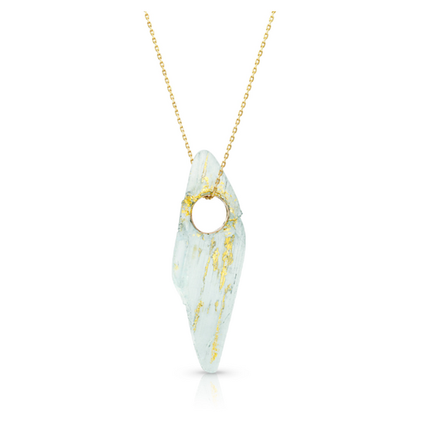 14K Gold and Aquamarine Heru Pendant - Fine Jewelry