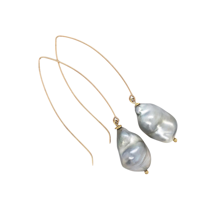 Baroque Tahitian Pearl Dangle Gold Earrings - Earrings