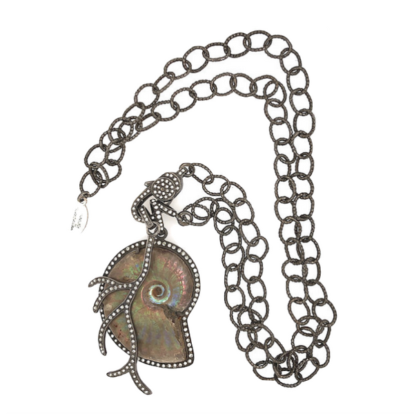 Diamond Fossil Ammonite And Branch Chain Necklace - Fine Jewelry
