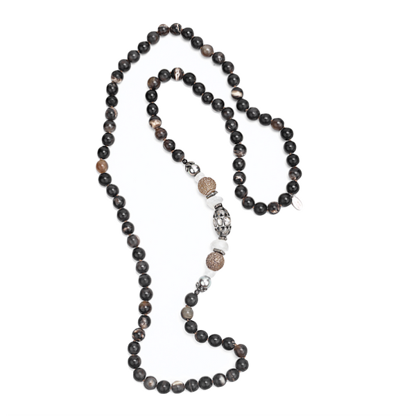 Diamond Tahitian Pearl Carved Agate Horn Necklace - Fine Jewelry