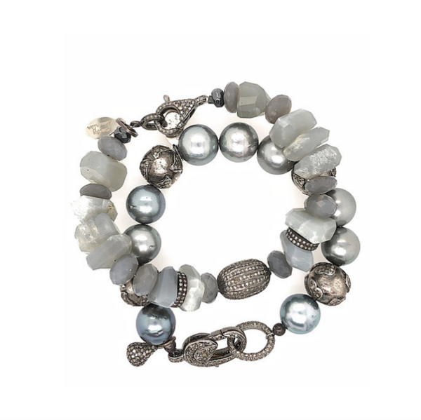 Diamond & Grey Moonstone Nugget Bracelet - Fine Jewelry