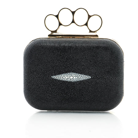 STANWYCK: Black Micro-Sparkle Clutch