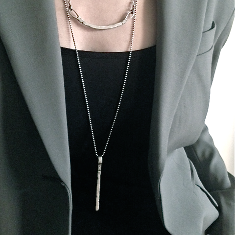 Long Silver Bar Necklace - Necklaces