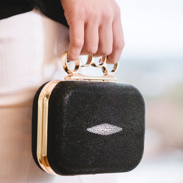 Black Stingray Knuckle Minaudiere Clutch - Clutches