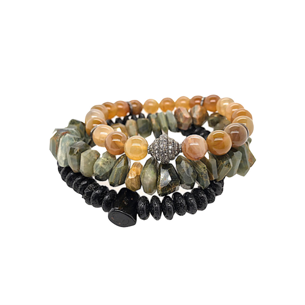 Triple Stack Cat's Eye & Diamond Bracelet Set