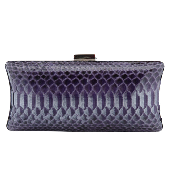 Purple Exotic Skin Minaudiere Clutch - Clutches