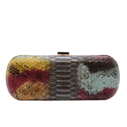Hand Painted Multicolor Exotic Skin Minaudiere Clutch - Clutches