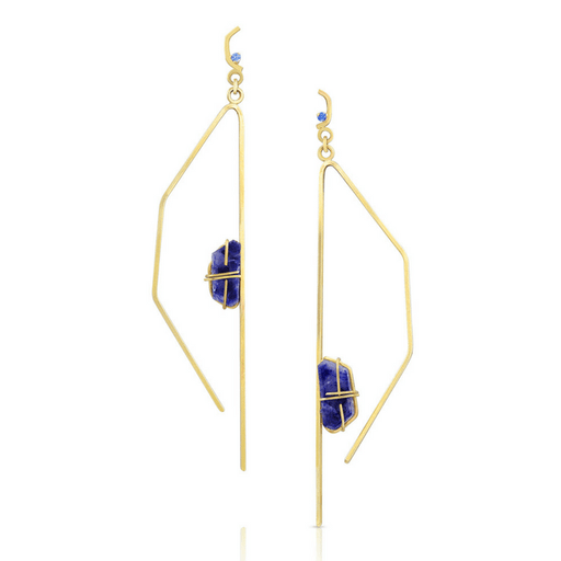 14K Gold and Sapphire Pavla Earrings - Fine Jewelry