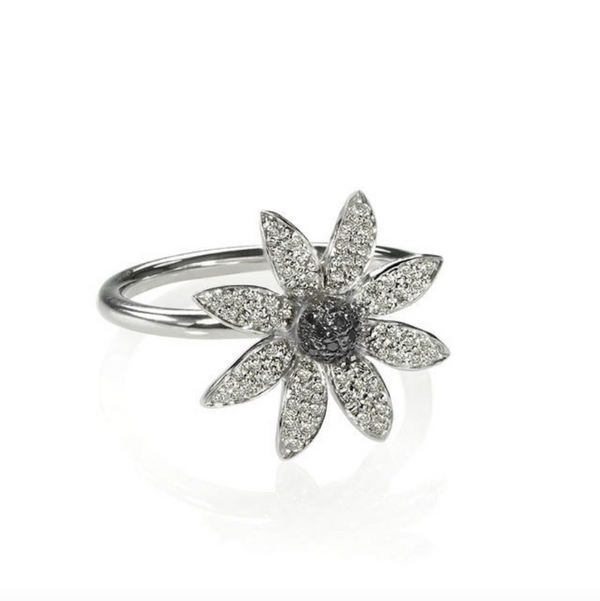 White Gold and Diamond Flower Ring