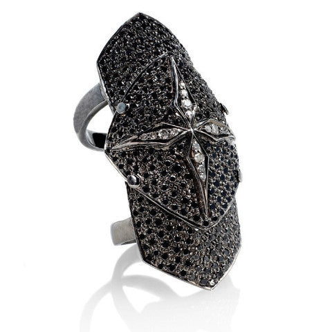 Black Diamonds and White Gold Armor Ring - Fine Jewelry
