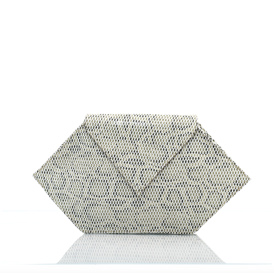Leather Grey Nyx Clutch Bag - Clutches