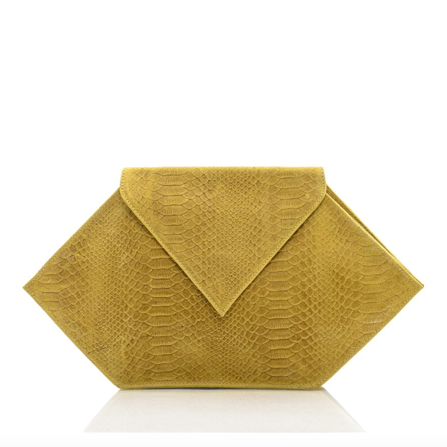 Leather Yellow Nyx Clutch Bag - Clutches