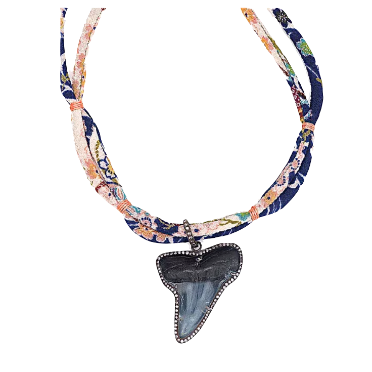 Diamond Shark Tooth Silk Necklace - Fine Jewelry
