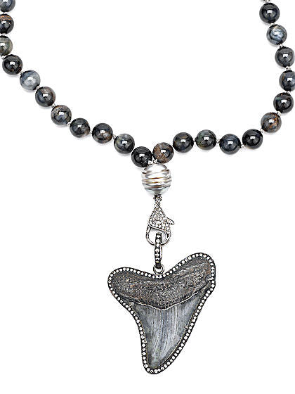 Ancient Blue Shark Tooth Pearl and Diamonds Necklace - Fine Jewelry
