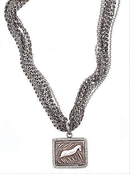 Antique Amulet and Diamonds Necklace - Fine Jewelry