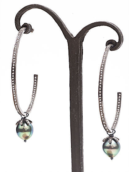 Diamond and Tahitian Pearl Hoop Earrings - Fine Jewelry