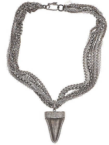 Ancient Shark Tooth Chain and Diamonds Necklace