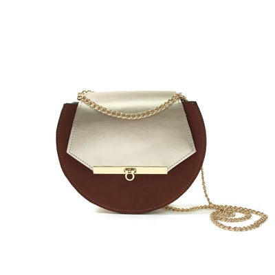 Loel Mini Crossbody Bag in Cognac and Metallic Champagne Gold - Shoulder Bags