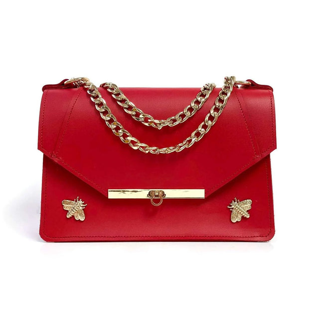 Gavi Shoulder Bag in Saffron Red - Shoulder Bags
