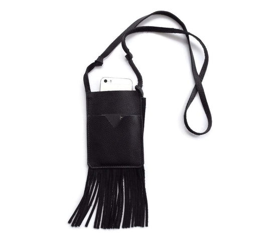 Fringe Phone Crossbody in Black - Bag Charms & Accessories