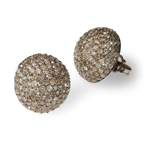 Champagne Diamond Button Earrings - Fine Jewelry