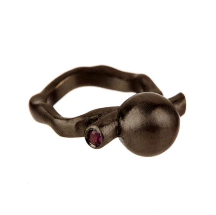 Black Rhodium Ball Ring with Rubies