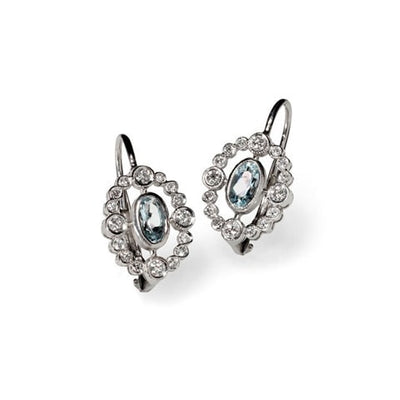 Aquamarine and Diamonds Earrings - Fine Jewelry