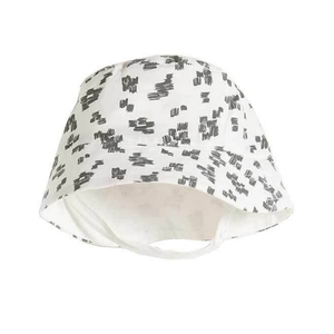 Summer Sun Hat - White with Black Dashes