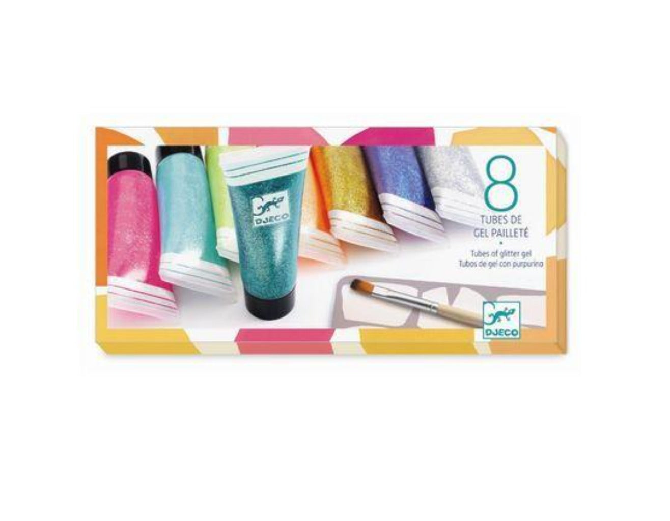 Glitter Gel Paint Set with Brush - 8 Tubes
