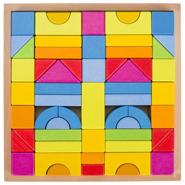 Wooden Rainbow Building Blocks with Frame