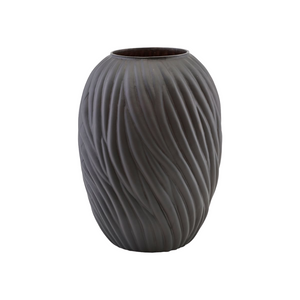 Large Noa Dark Brown Glass Vase