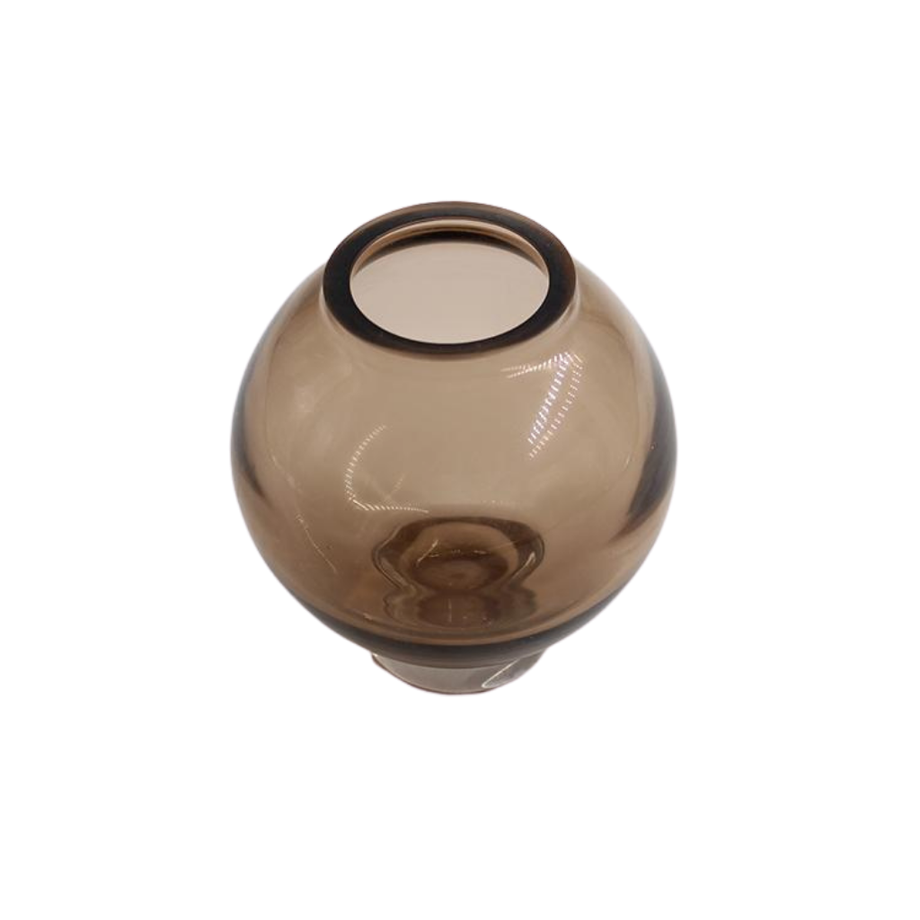Small Round Brown Glass Vase