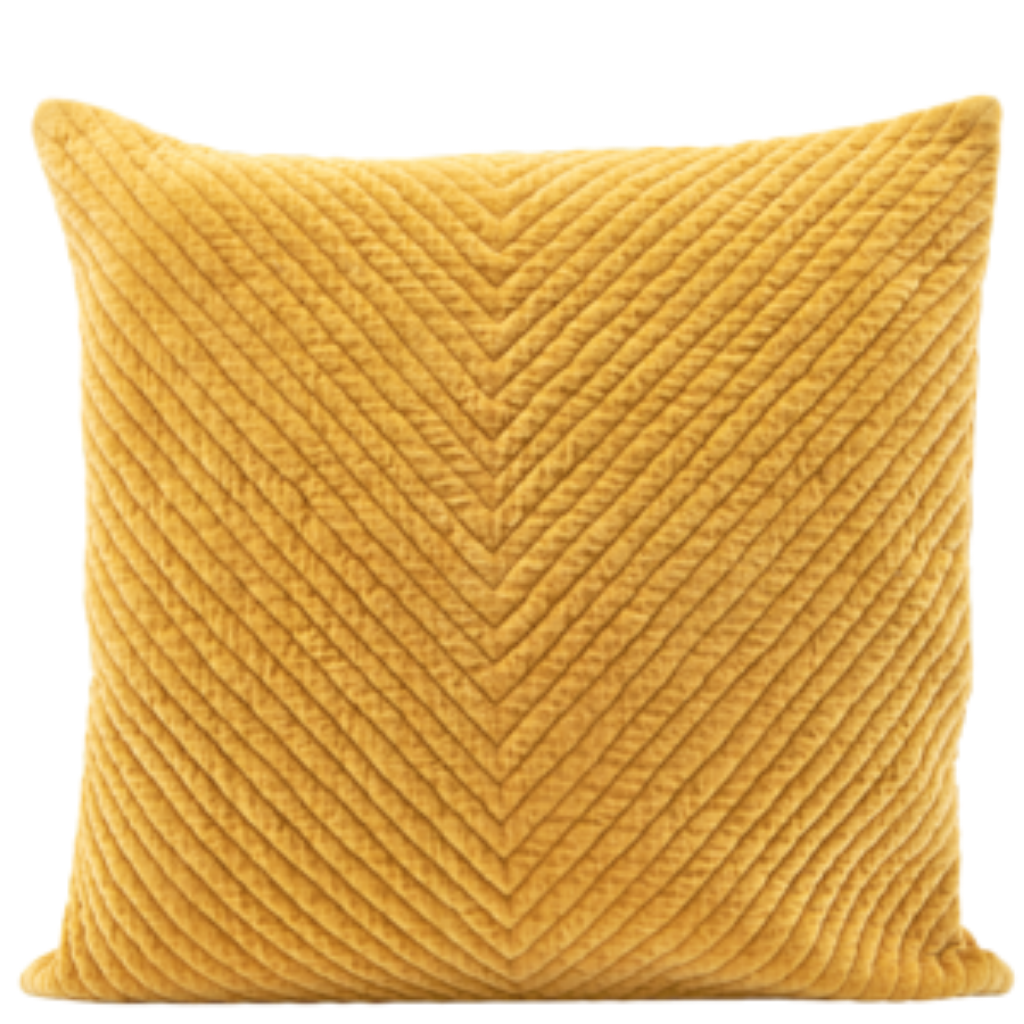 Mustard Velvet Square Cushion