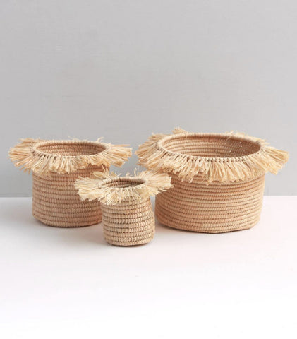 Small Raffia Storage or Plant Pot