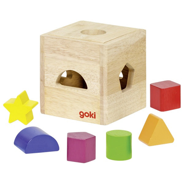 Natural Wood Sorting Cube with Colourful Blocks