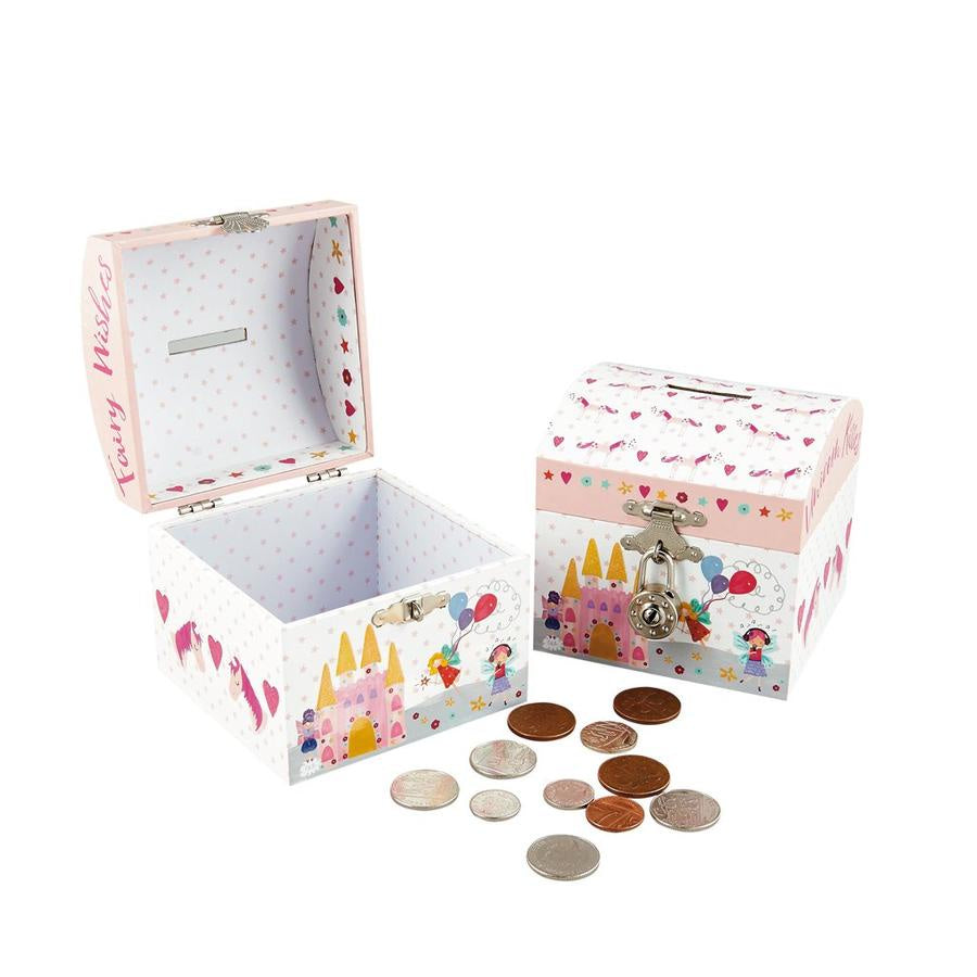 Unicorn Money Box with Silver Round Lock