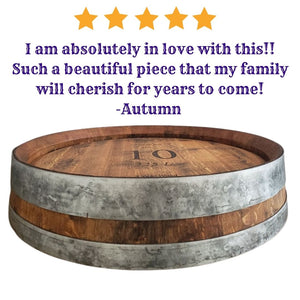 Wine Barrel Top Lazy Double Metal Ring Wedding/Charcuterie/Gift