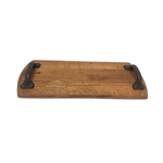 Load image into Gallery viewer, Bourbon Barrel Head Cheese Tray With Cast Iron Antique Handles - Get Groovy Deals Texas