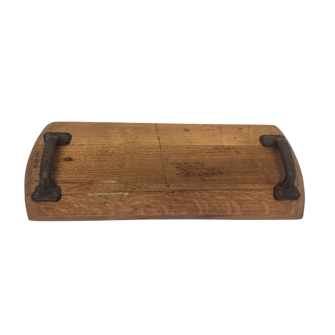 Bourbon Barrel Head Cheese Tray With Cast Iron Antique Handles - Get Groovy Deals Texas