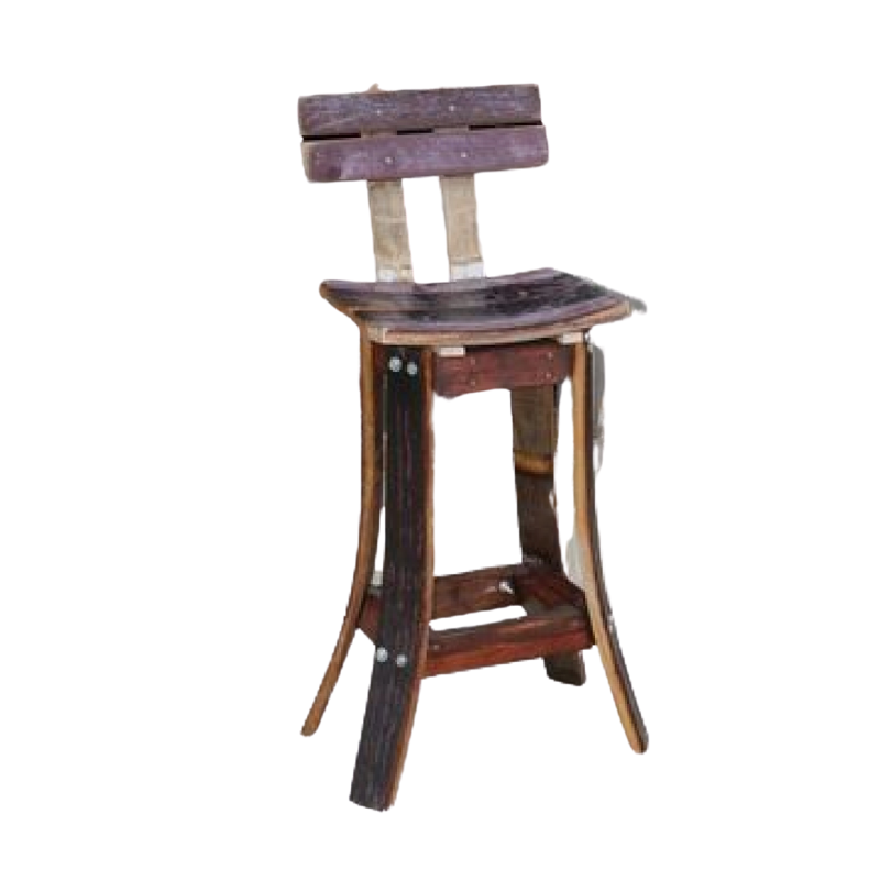 Whiskey Barrel Oak Stave Stool - High Back - Get Groovy Deals Texas