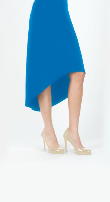 High Low Soft Knit Skirt - Ocean Blue - Final Sale!