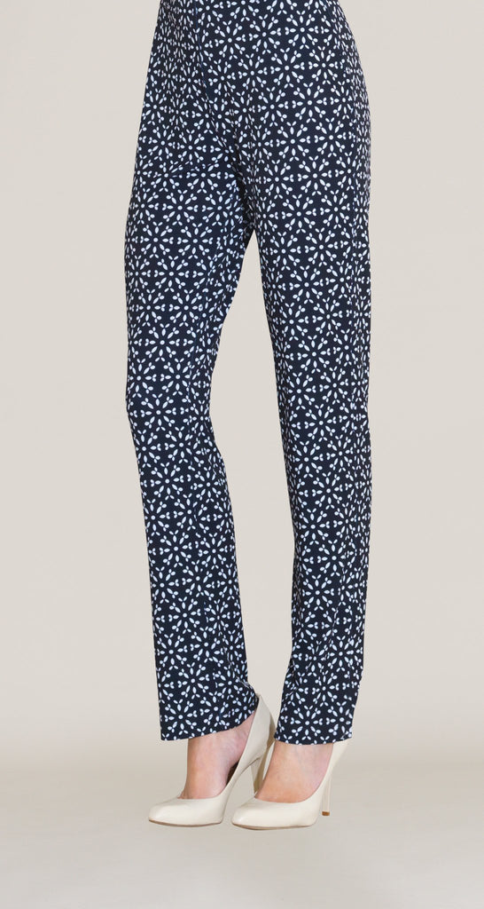 Dots Print Straight Leg Pant - Black/White
