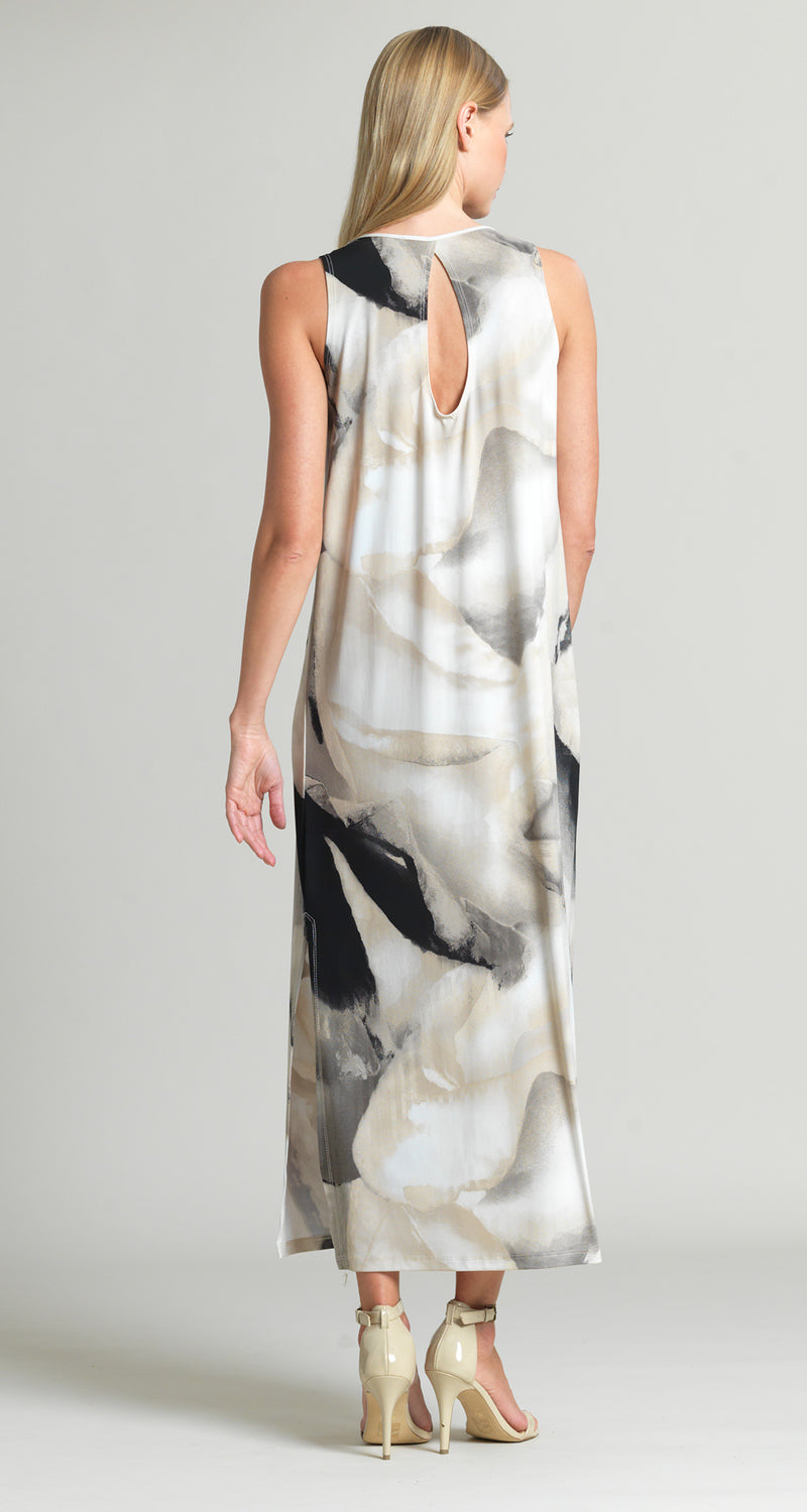 Watercolor Keyhole Back Side Vent Maxi Dress - Taupe Multi - Final Sale!